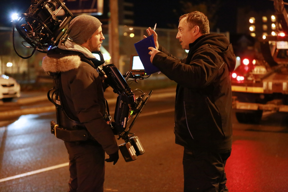 Rafal Sokolowski directing the steady-cam sequence. Photo by Ramona Diaconsecu.