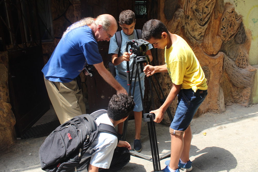 Hayes & students Bourj Al-Shemali Palestine Refugee Camp Lebanon.jpeg