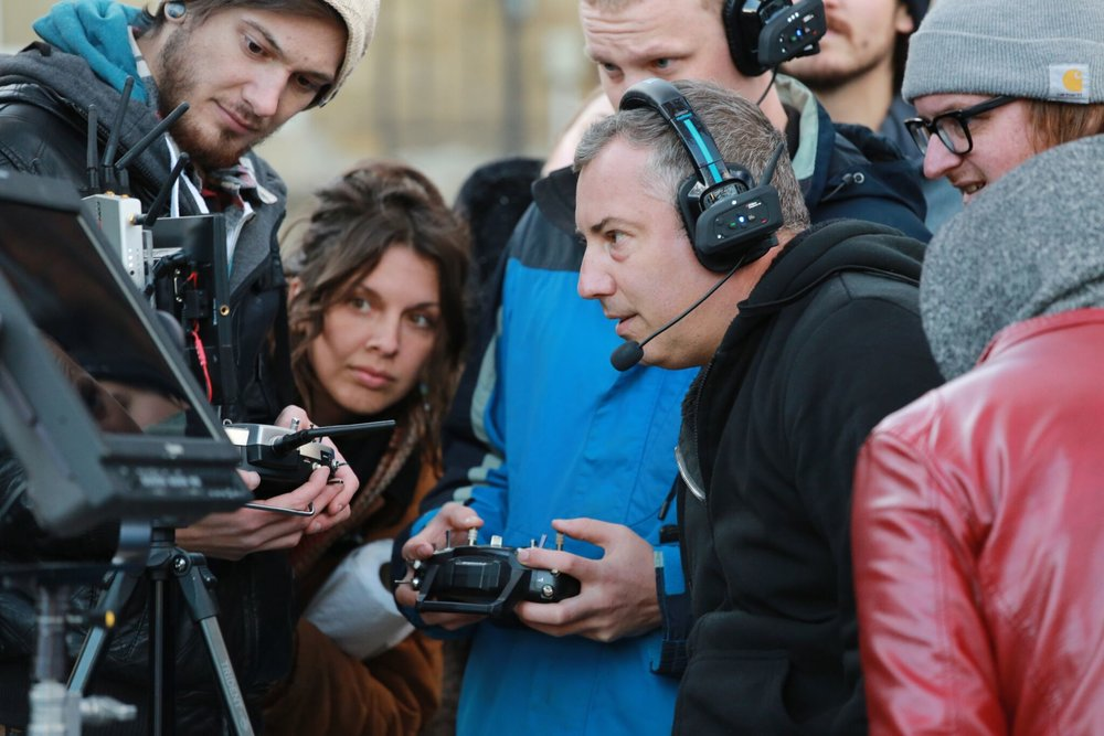 Sokolowski pictured center on the set of  22 Chaser.  Photos provided by Ramona Diaconescu and Maloney Aguirre.