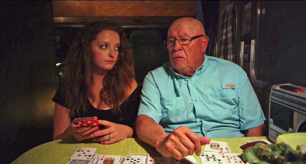 Mackinlee Waddell (Left) and Barry Corbin (Right) in a still from  Farmer of the Year .
