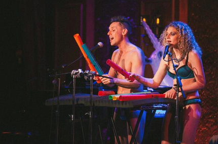 The Skivvies working their boomwhackers