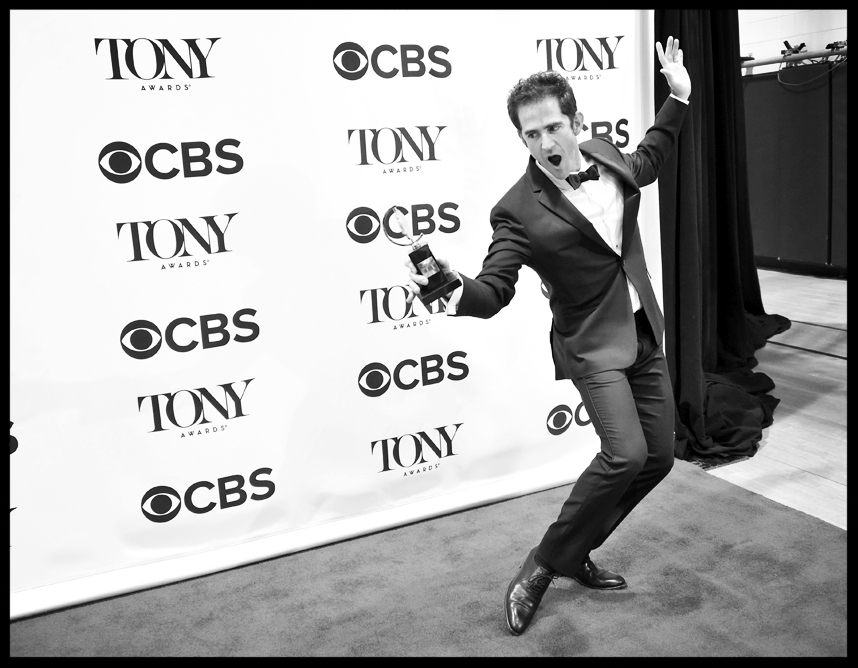Andy Blankenbuehler with his Tony for best choreography in Hamilton.