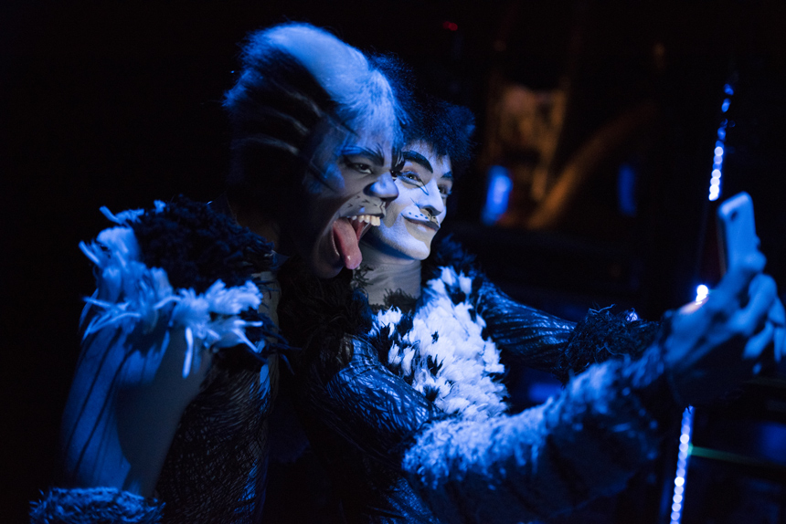Ahmad Simmons and Ricky Ubeda, backstage, Neil SImon Theater, Cats Broadway Revival