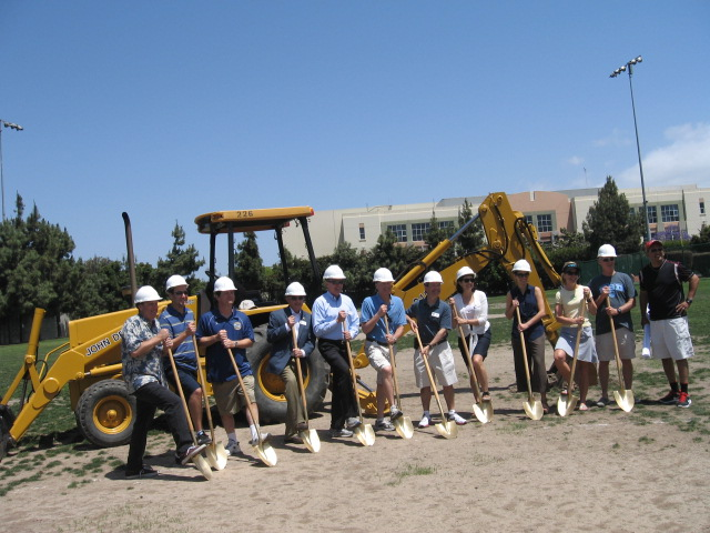 Manhattan Beach City officials, AYSO Region 18 representatives, and major supporters break ground for the installation of an artificial turf field at Marine Avenue Park.  May 18, 2013