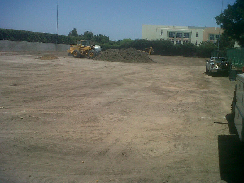 Grading the cleared field. May 31, 2013