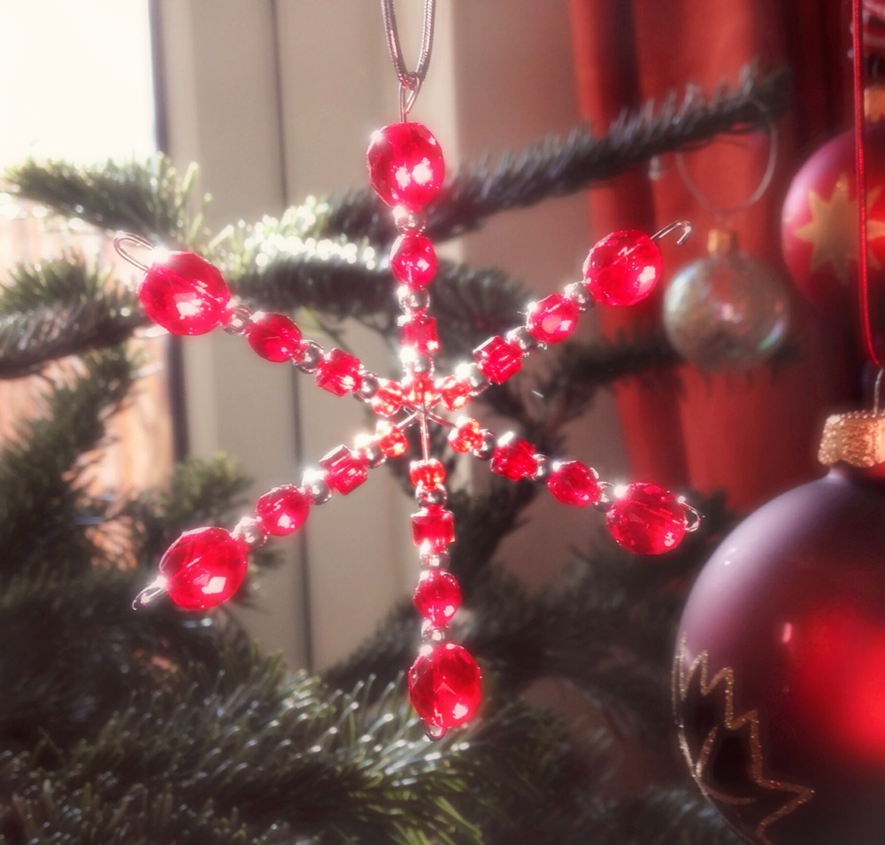 Jewelled snowflake decorating our Chriwtmas tree