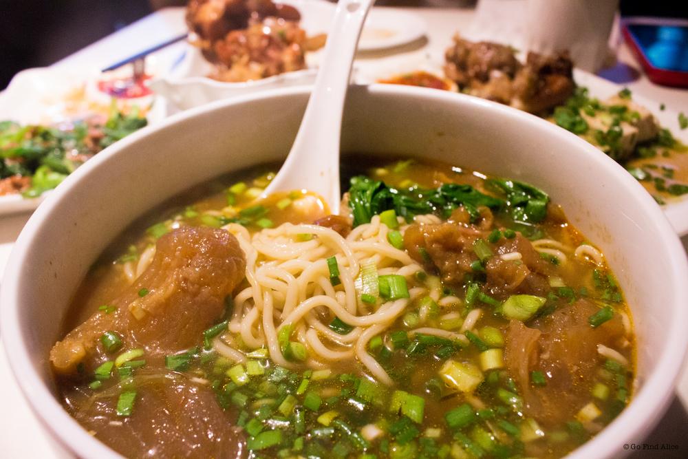 Pot roast beef tendon noodle soup