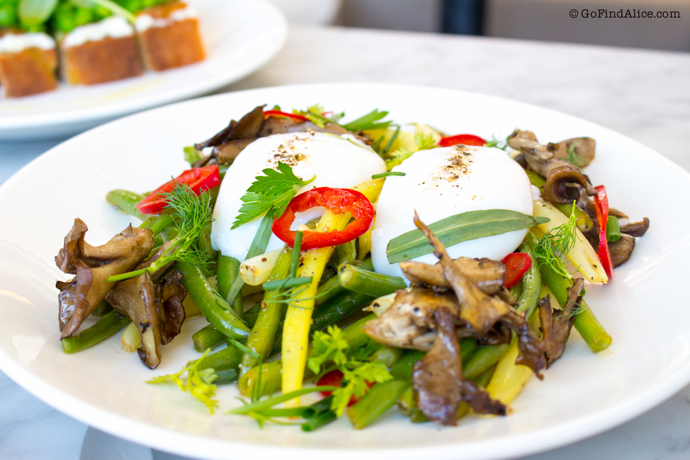 Poached eggs, asparagus, mushrooms, herb vinaigrette