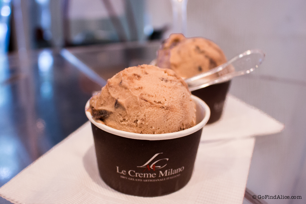 "Two XS cups of ""Le Creme Milano"" (hazelnut, Ferrero Rocher, Nutella chocolate mixing)"