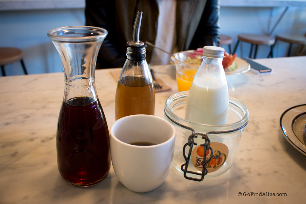 Cute coffee, milk and cane sugar glass jars