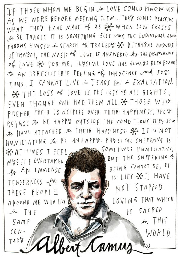 """Camus on Happiness and Love""  - Illustration by Wendy MacNaughton"