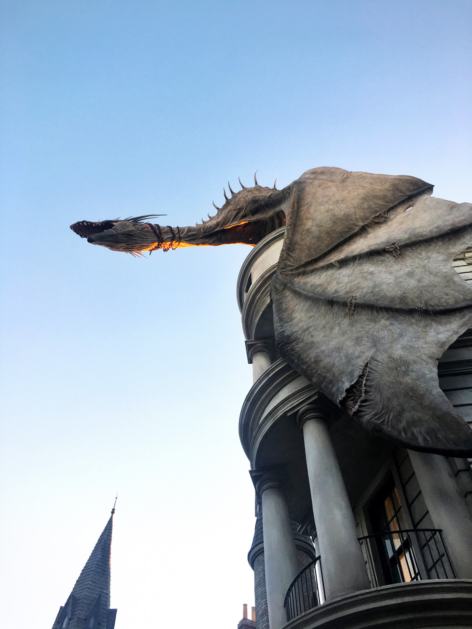 The Dragon atop Gringotts in Diagon Alley - he breathes out real fire once in a while!