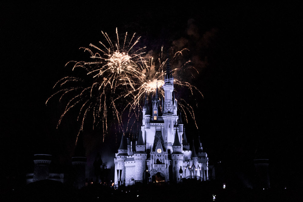 Magic Kingdom fireworks above the castle