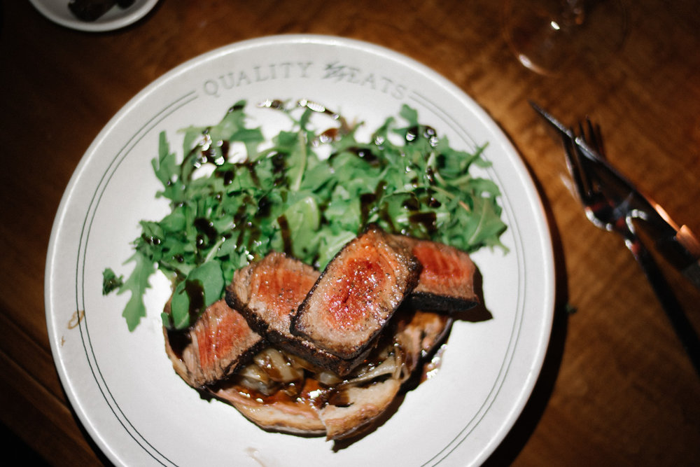 Don Ameché steak     ($29),   charred, sliced,  chicken liver mousse toast  and balsamic-dressed arugula