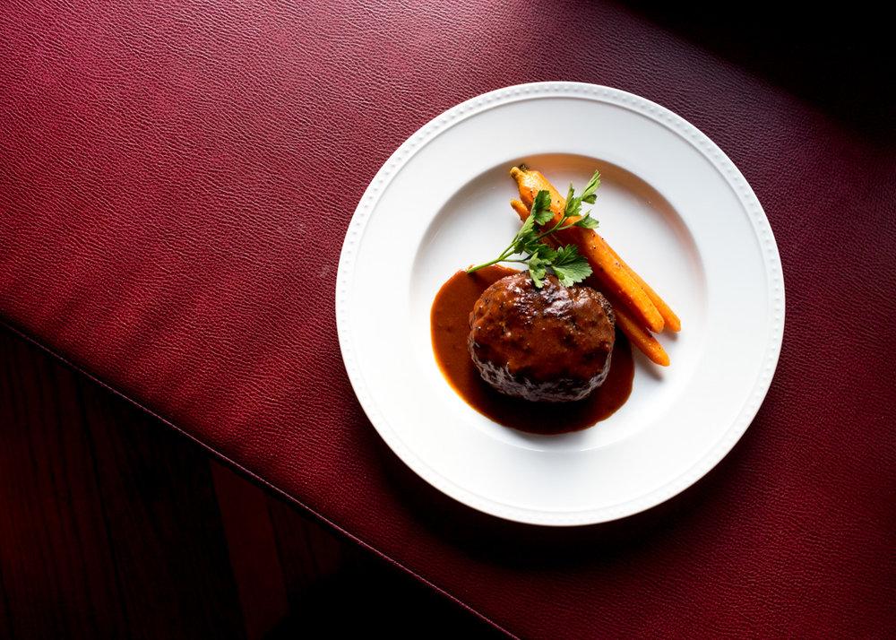 HAMBURGER STEAK  ($21) with glazed carrot. demi-glace sauce