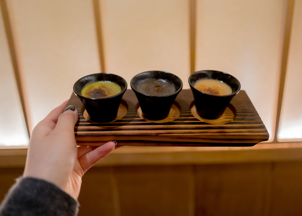 Crème brûlée in 3 flavors: Green Tea - Black Sesame - Roasted Hojicha Tea