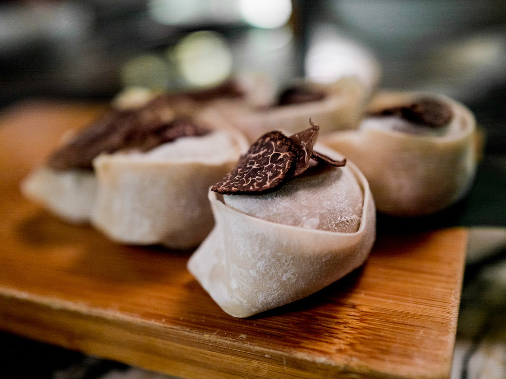 Black truffle dumplings