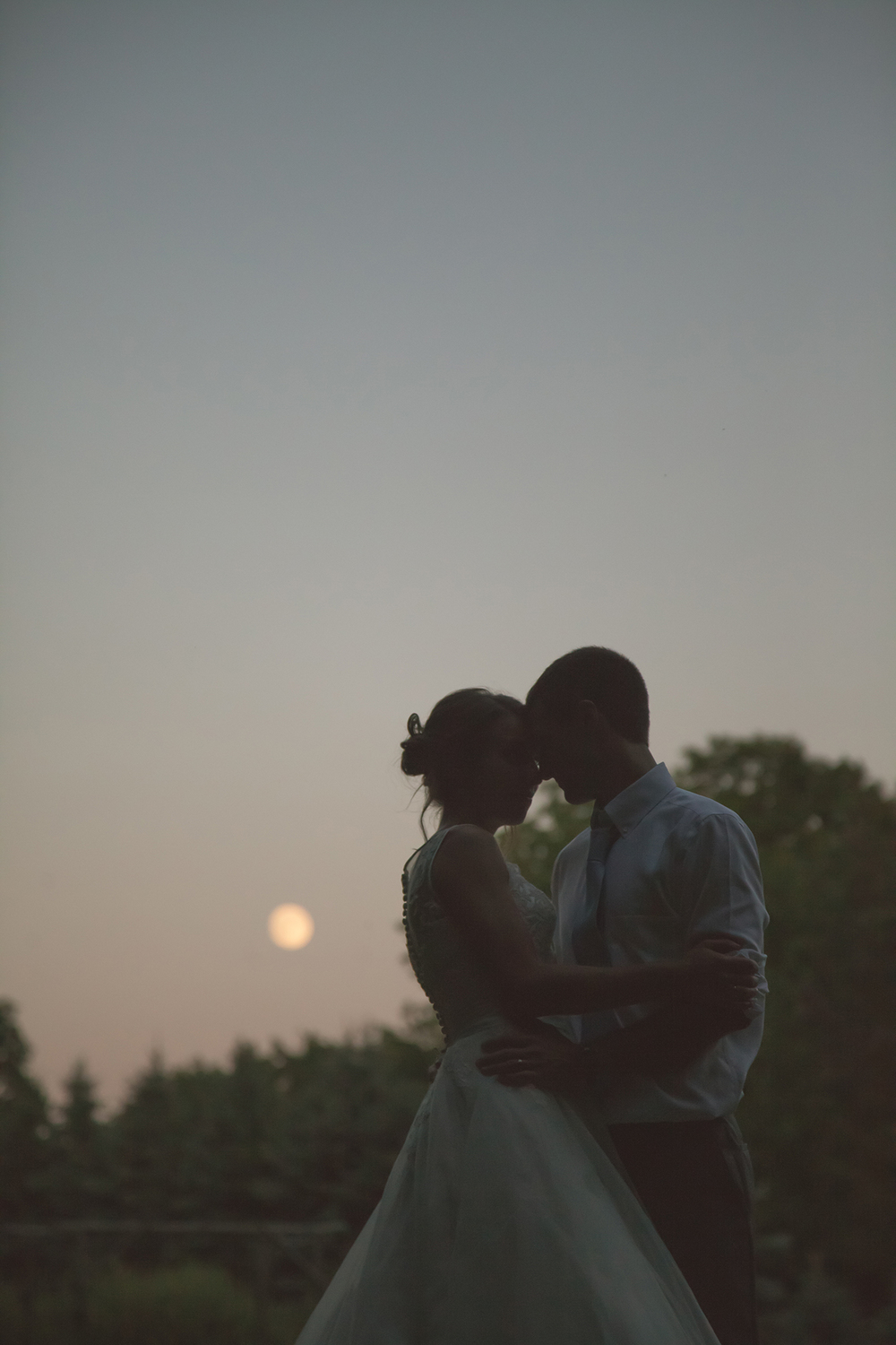 Wedding photography in Buffalo, NY of bride and groom at dusk under full moon.