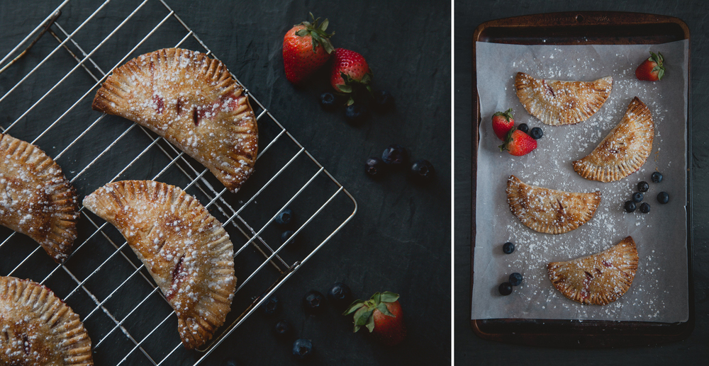 Food photography of berry hand pies on slate background in Syracuse, NY.