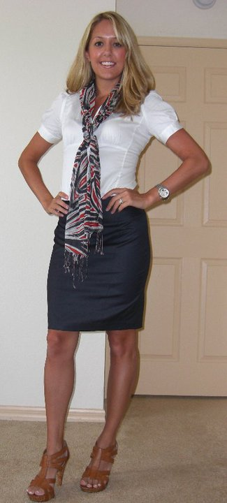 Scarf: Banana Republic, $8 Shirt: Banana Republic, $25 Skirt: Limited, $25 Shoes: DSW/Chinese Laundry, $40 Watch: Fossil