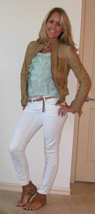 Leather jacket: Banana Republic, $150   Shirt: Banana Republic, $35   Necklace: Banana Republic, $30 Jeans: Gap, $30 Belt: Gap, $10 Shoes: DSW/Chinese Laundry, $27