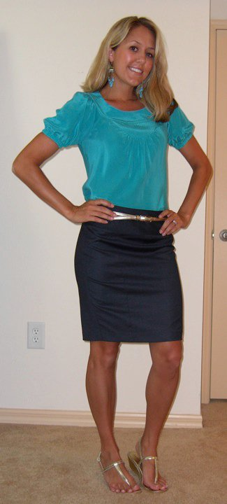 Shirt: Banana Republic, $20   Earrings: Banana Republic, $25   Skirt: The Limited, $25 Belt: The Limited, $20 Shoes:  Endless.com/Rampage , $20