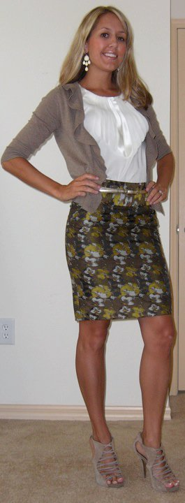 Shirt: Banana Republic, $35   Sweater: Banana Republic, $30   Skirt: The Limited, $50 Belt: The Limited, $20 Earrings: Banana Republic, $15 Shoes: DSW/Steve Madden, $27