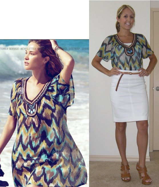 Photo left: H&  M.com  ; re-purpose your summer tunics into an office-appropriate look by tucking them into a skirt!   Tunic: H&M, $9.95   Cami: Forever 21, $3 Skirt: Banana Republic, $35 Belt: Gap, $10 Shoes: DSW/Chinese Laundry, $40 Earrings: Banana Republic, $20
