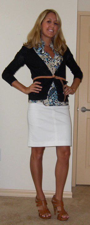 Navy cardigan: Gap, $20   Shirt: Banana Republic, $40   Belt: Gap, $10 Skirt: Banana Republic, $35 Shoes: DSW/Chinese Laundry, $40 Earrings: Banana Republic, $20