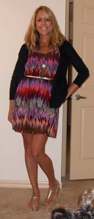 Dress: H&M, $12.95   Necklace: H&M, $8    Belt: The Limited, $20 Cardigan: Gap, $20 Shoes:  Endless.com/Rampage , $20