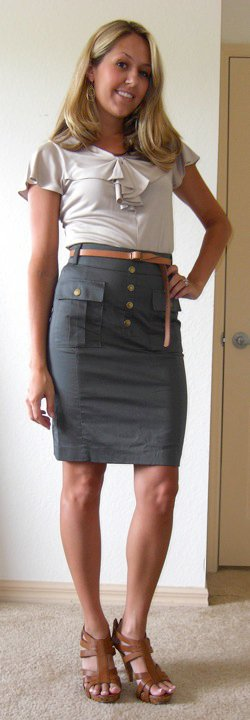 Shirt: Banana Republic   Skirt: H&M, $25   Belt: Gap, $10 Shoes: DSW/Chinese Laundry, $40 Earrings: Banana Republic, $20