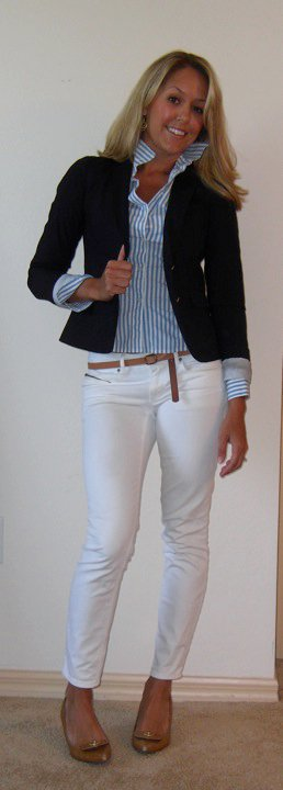 Black Blazer + White Pants