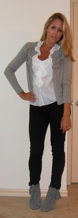 Cardigan: Banana Republic, $30   Shirt: Banana Republic, $35   Black jeans: Gap, $30   Boots: Aldo