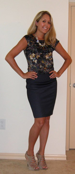 Shirt: The Limited, $25   Skirt: The Limited, $25   Necklace: Banana Republic, $18   Shoes: DSW/Steve Madden, $28