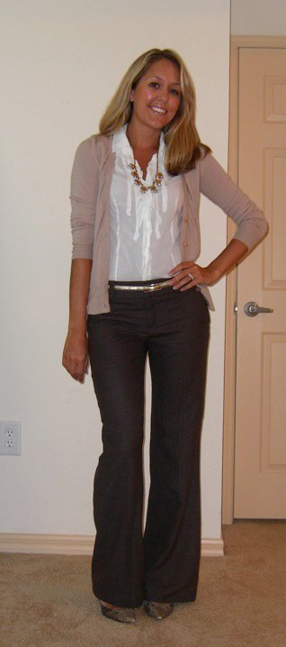 Cardigan: LOFT, $20   Necklace: J.Crew, $40   Shirt: Express   Belt: The Limited, $20 Pants: Banana Republic, $50 Shoes: Boutique 9, $70
