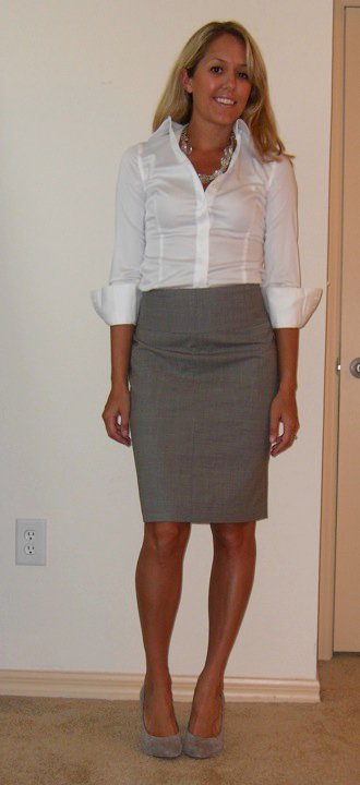Shirt: Banana Republic, $15   Necklace: Banana Republic, $18   Skirt: Banana Republic, $40   Shoes: Banana Republic, $50