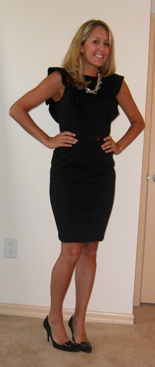 Dress: Express   Necklace: Banana Republic, $18   Belt: Express   Shoes: Calvin Klein