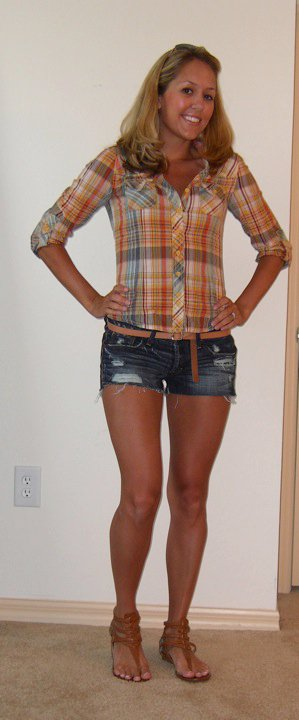 Shirt: Forever 21   Belt: Gap, $10   Shorts: Abercrombie, $50   Shoes: DSW/Chinese Laundry, $27