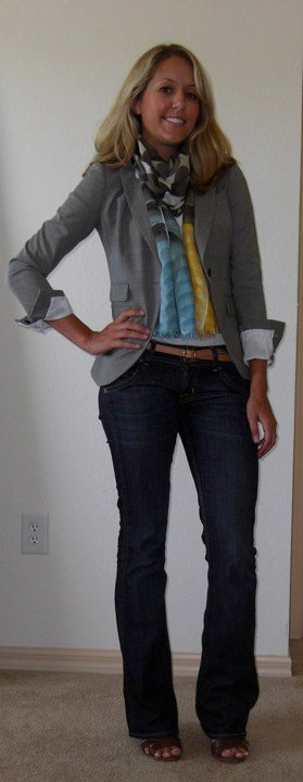 Blazer: Banana Republic, $90   Scarf: Banana Republic, $30   Belt: Gap, $10   Jeans: Hudson, $70   Shoes: H&M