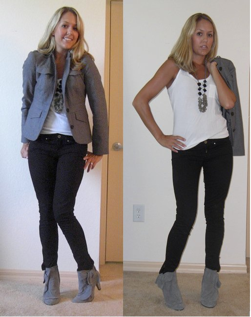Jacket: Banana Republic, $75   Necklace: Banana Republic   Shirt: Forever 21, $8   Jeans: Gap, $30   Boots: Aldo