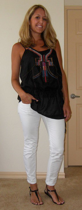 Tunic: Forever 21, $30   Cami: Forever 21, $3   Jeans: Gap, $30 Shoe: Macy's, $13 Earrings: Banana Republic, $20