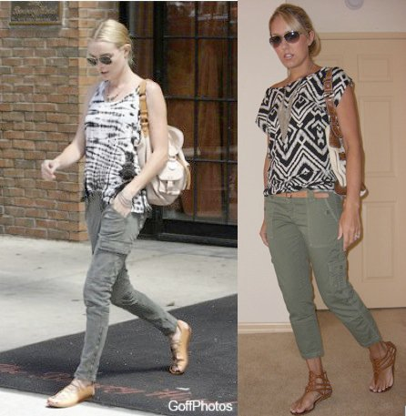 Tunic: H&M, $5 (in stores now)   Pants: American Eagle, $19 (online now)   Necklace: Banana Republic, $13 (online now) Belt: Gap, $10 Purse: Guess Shoes: DSW/Chinese Laundry, $27 Sunglasses: Banana Republic, $50  Photo left: Kate Bosworth's fabulous outfit from  Grazia.co.uk