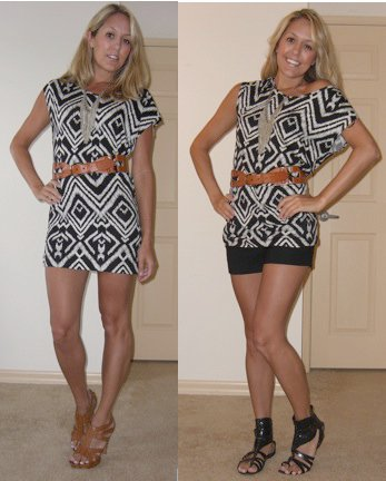 Two more ways to wear H&M tunic, $5.    Necklace: Banana Republic, $13 (online now)   Belt: Gap, $40   Left: Shoes, DSW/Chinese Laundry, $40   Right: Shorts: Forever 21, $22, Shoes: Aldo, $75