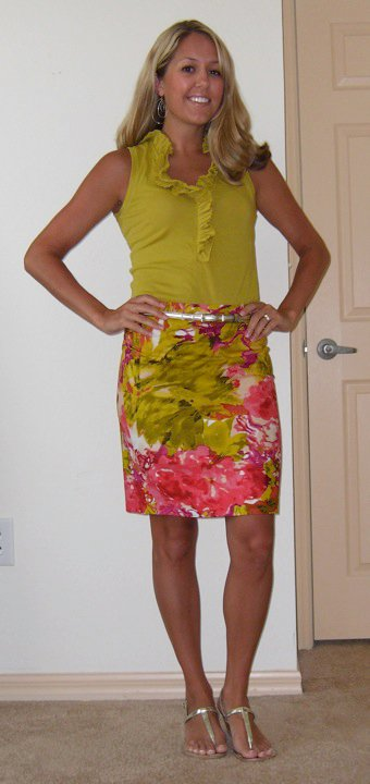 Skirt: J.Crew, $48   Shirt: J.Crew, $25   Belt: Limited, $20 Shoes; Rampage/Endless.com, $20 Earrings: Banana Republic, $20
