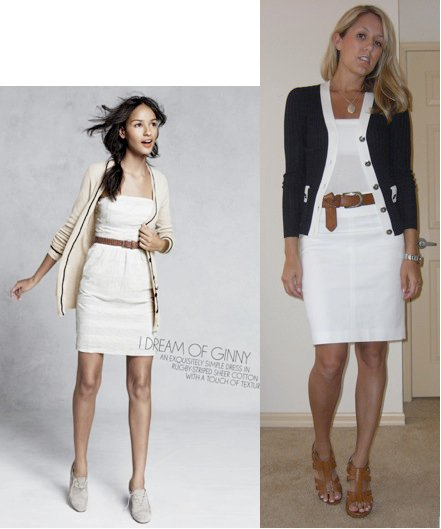 Photo left: My inspiration from June 2010 J.Crew catalog   Sweater: Banana Republic   Tube top: Banana Republic Belt: H&M Skirt: Banana Republic, $35 Shoes: DSW/Chinese Laundry, $40 Watch: Fossil
