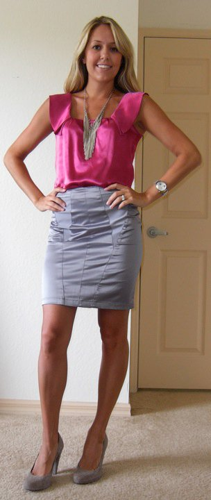 Shirt: Banana Republic, $15 (day after Christmas sale)   Necklace: Banana Republic, $13 (online now)   Skirt: Urban Outfitters, $15 Shoes: Banana Republic, $50 Watch: Fossil