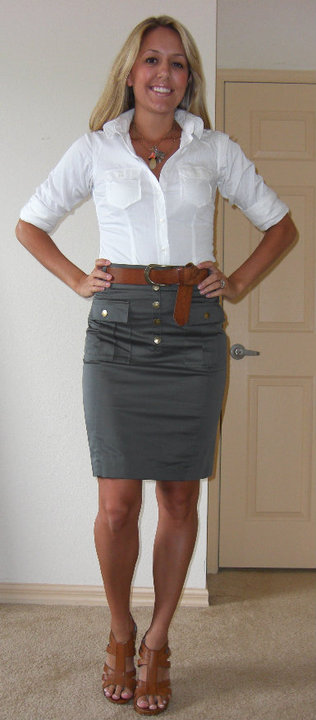 Occasion: Work   Skirt: H&M, $25   Shirt: Gap, $20   Belt: H&M Necklace: Banana Republic Shoes; DSW/Chinese Laundry, $40