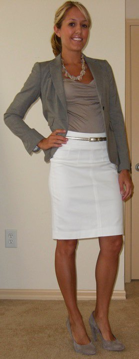 Blazer: Banana Republic, $74   Shirt: Banana Republic, $20   Necklace: Banana Republic, $18 Skirt: Banana Republic, $35 Belt: The Limited, $20 Shoes: Banana Republic, $50
