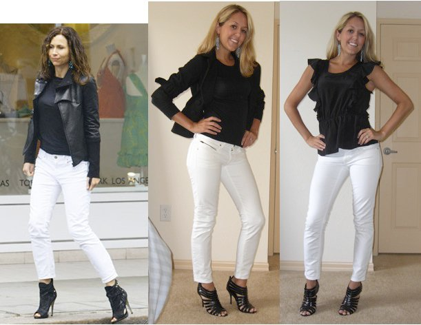 Middle photo: my copy of Minnie Driver's awesome outfit!   Right photo: how I'm actually wearing it since it's too hot for long sleeves and a coat   Jeans: Gap, $30 Shoes: TJ Maxx, $16 Earrings: Banana Republic, $15 Long sleeve shirt: Gap, $10 (middle photo) Jacket: Forever 21, $30 (middle photo) Blouse: Banana Republic, $35 (right photo)