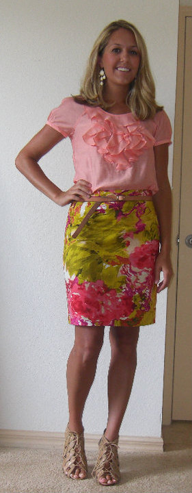 Shirt: Limited, $14   Skirt: J.Crew, $48 Belt: Gap, $10 Earrings: Banana Republic, $20 Shoes: Piperlime/Chinese Laundry, $34